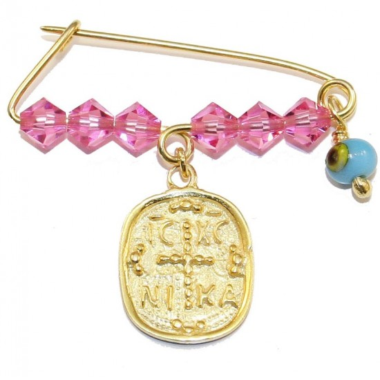 Children's nanny sterling silver gold plated with colorful quartz for baptism