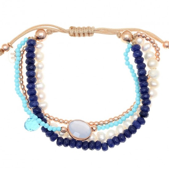 Silver bracelet rose gold plated turquoise pearls and synthetic stones