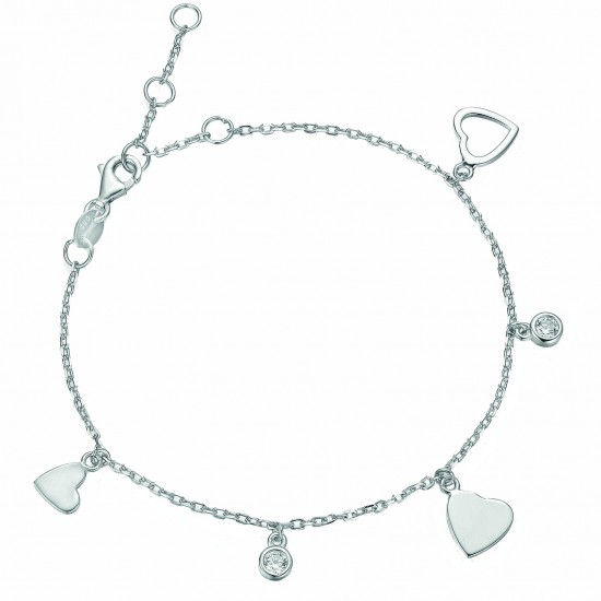Silver bracelet platinum with hearts and solitaire design with white zircon