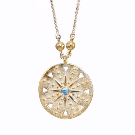 Κολιέ χρυσό Κ14 με Κωνσταντινάτο και μπλε ζιργκόν στο κέντρο 2935