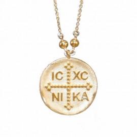 Κολιέ χρυσό Κ14 με Κωνσταντινάτο και καδένα 2935K