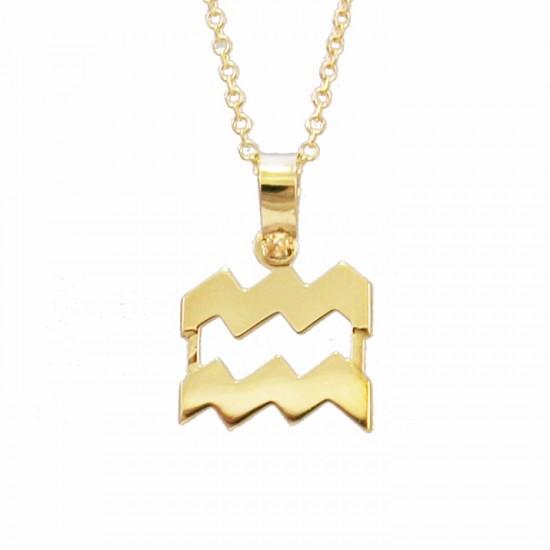 Κολιέ χρυσό Κ9 με ζώδιο Υδροχόος με καδένα 1251375
