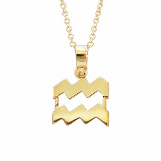 Necklace Gold K9 with Zodiac sign Aquarius with chain 1251375