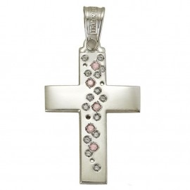 White gold cross K14 with white zircons baptism for girl