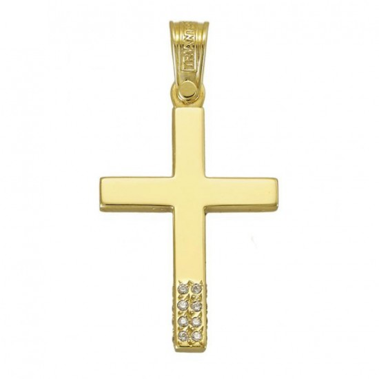 Cross gold K14 with white zircon on all three sides for baptism or engagement 3841G