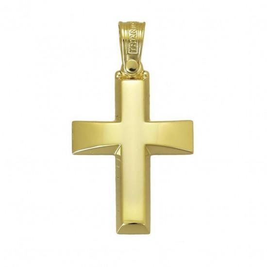 Σταυρός χρυσός Κ14 λουστραριστός βαπτιστικός για αγόρι
