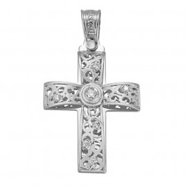 White gold cross K14 with white zircons.
