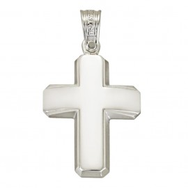 White gold cross K14 polished in the middle and mate at the edges baptism for a boy