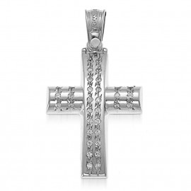 Cross Platinum Κ14 with white zircon baptism or engagement