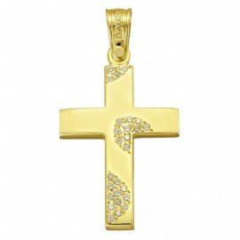 ΣCross gold K14 with white zircon for baptism or engagement  4051