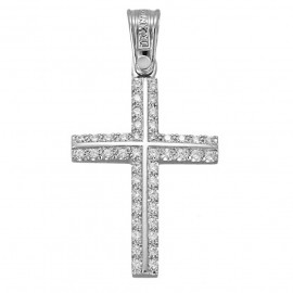 Cross platinum K14 with white zircon for christening or for engagement