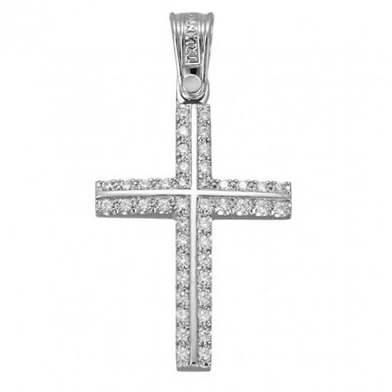 Cross platinum K14 with white zircon for christening or for engagement