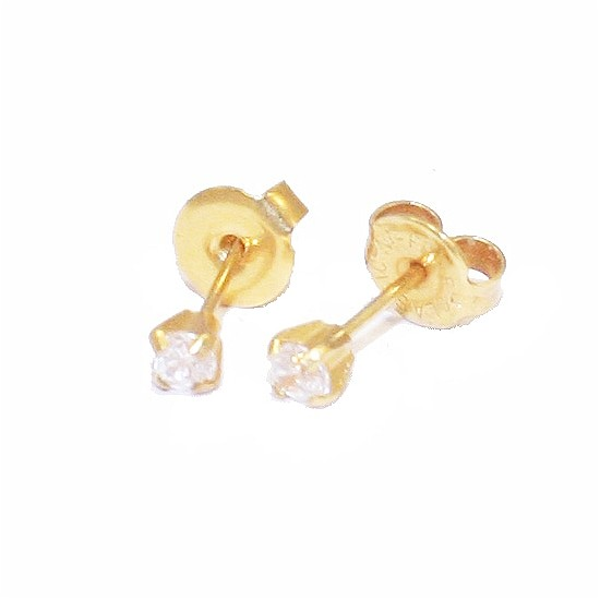 Gold earrings K18 solitaire with white zircon 50305