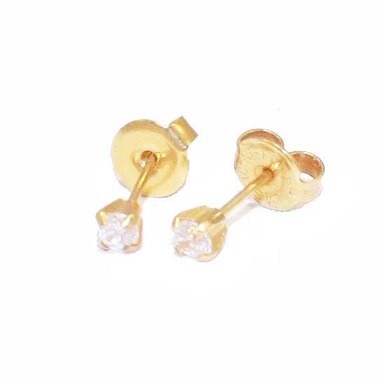 Σκουλαρίκια χρυσά Κ18 μονόπετρα με λευκά ζργκόν 50305