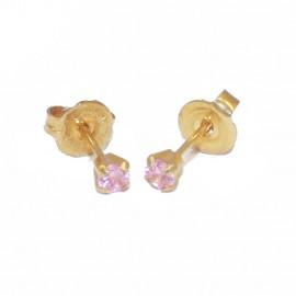 Σκουλαρίκια χρυσά Κ18 μονόπετρα με ροζ ζργκόν 50306