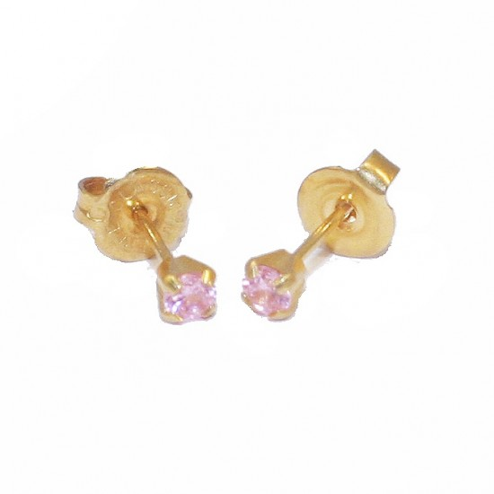 Gold earrings K18 solitaire with pink zircon 50306