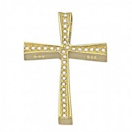 Σταυρός χρυσός Κ14 με λευκά ζιργκόν για βάπτιση 35545