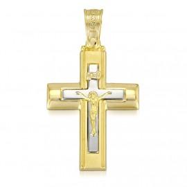 Σταυρός χρυσός Κ14 με τον Εσταυρωμένο για βάπτιση 4143C