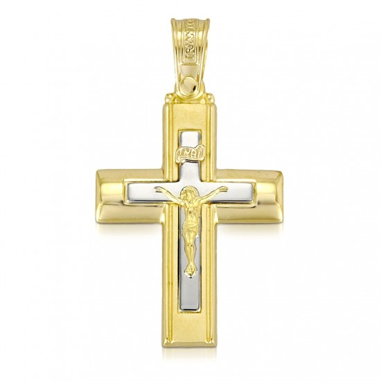 Cross Gold K14 with Crucifix for baptism 4143C