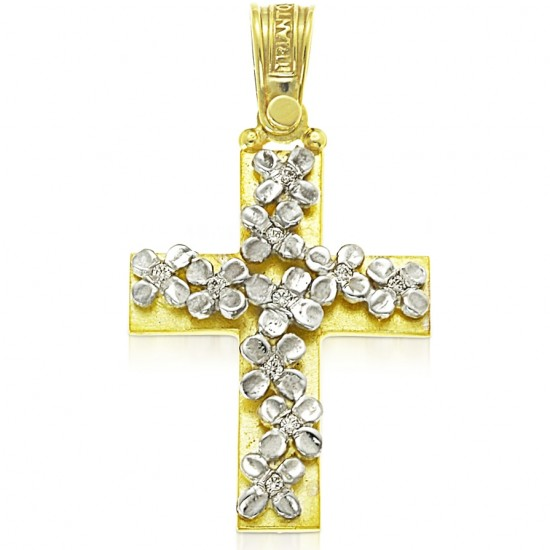 Cross gold K14 with white flowers and white zircon for baptism or for engagement
