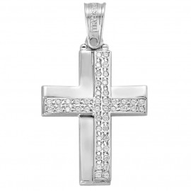 Cross platinum K14 with white zircon polished 4245