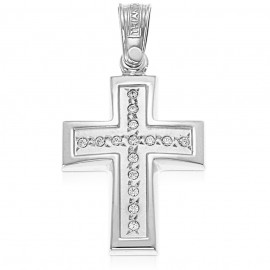 Cross platinum K14 with white zircon, two-tone lacquer and mat in the middle for christening or engagement 36048