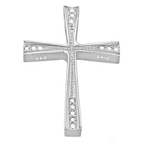 Σταυρός λευκόχρυσοςΚ14 με λευκά ζιργκόν λουστραριστός για βάπτιση 3841W
