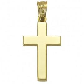 Σταυρός χρυσός Κ14 κλασικός λουστραριστός για βάπτιση 2943