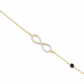 Sterling silver bracelet gold-plated with infinite design with white zircon and spinel  1203