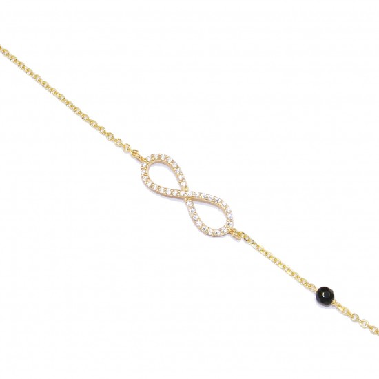 Gold-plated silver bracelet with infinite design with white zircon and spinel 1203