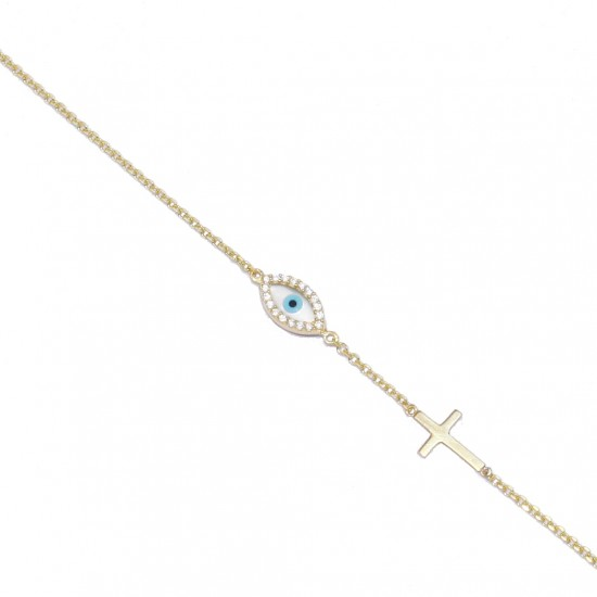 Gold-plated silver bracelet with mother-of-pearl eye design and white zircon and Cross 1189B2