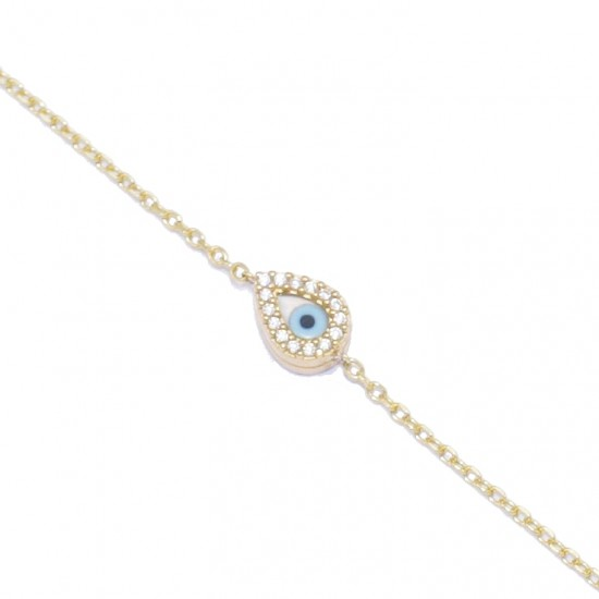 Gold-plated silver bracelet with mother-of-pearl eye design 1427B2