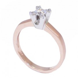 Rose gold wedding ring K14 and platinum stone base and stones nailed to stems. The hood on the outside is satin and on the side