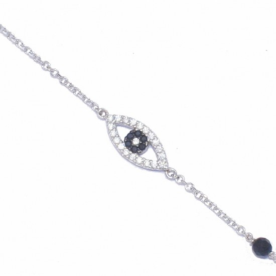 Silver bracelet platinum with eye design with black and white zircon and onyx 139281