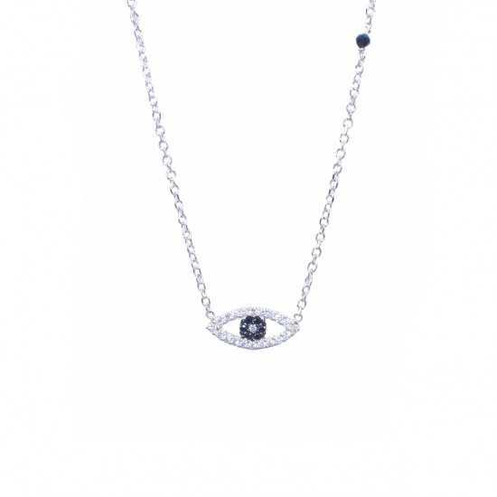 Silver necklace with Eye with white and black zircon and onyx Chain Length 40-45cm1392L1