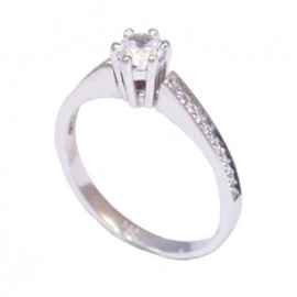 Wedding Ring platinum K14 with white zircon in the leg 25225