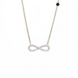 Silver necklace with gold plating with Infinity with white zircon and onyx 1203L2