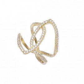 Silver ring gold plated and white zircon No. 55