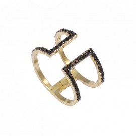 Silver ring gold plated with black platinum and black zircon No. 57