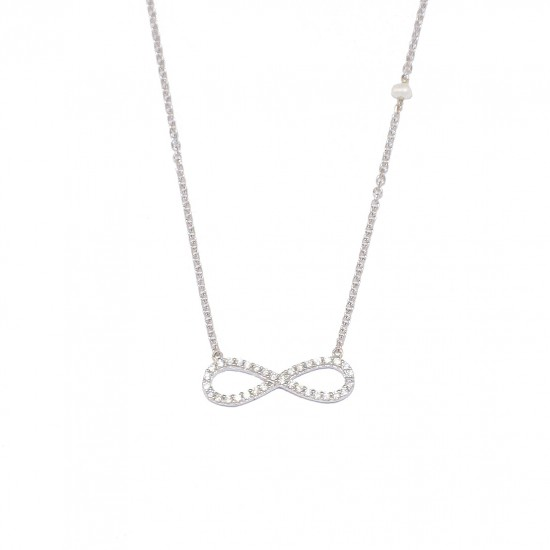 Silver necklace platinum with infinity design with white zircon and pearl 1203L1