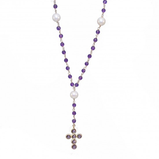 Rosary gold K14 with synthetic stones in amethyst color and pearls 7760