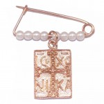 Children's silver nannies with rose gold-plated and Cross design with two sides and pearls 190920