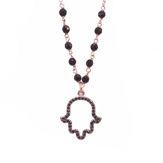 Silver bracelet the hand of good luck with black zircons onyx and rose gold plated Chain length 40cm-45cm