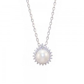 Sterling silver rosette necklace with white zircon and pearl Chain length 40-45cm