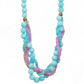 Silver necklace rose gold-plated and synthetic colorful stones