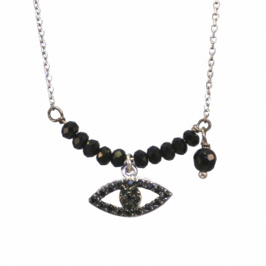 Silver necklace with eye design platinum spinel and black zircons Chain length 40cm-45cm