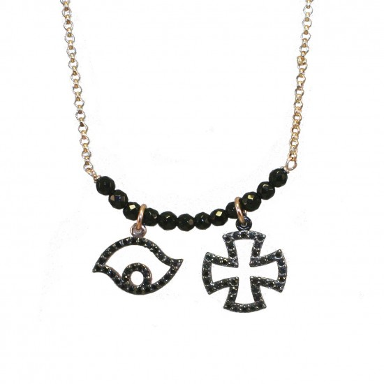 Silver necklace with eye designs and the Maltese Cross with rose gilt and black spinel  Length of chain 40-45cm