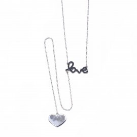 Silver necklace love tie type platinum and black spinel Chain Length 45-50cm