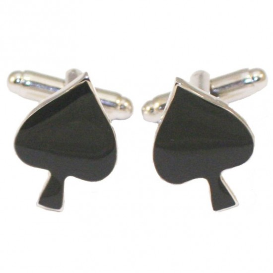 Stainless Steel Men's Cufflinks with Card Game Stick design