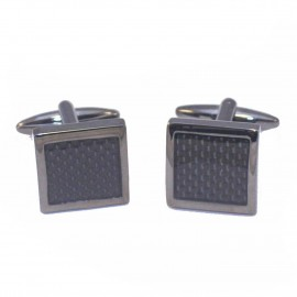 Stainless Steel Men's Cufflinks in black with carbon fiber in the middle MAT154